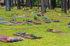 Lying red granite headstones Stock Photography