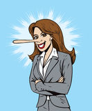 Lying salesperson or business woman vector illustration