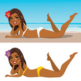 Lying Sand Beach Woman Royalty Free Stock Photos