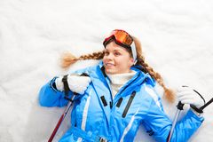 Lying skier Royalty Free Stock Photography