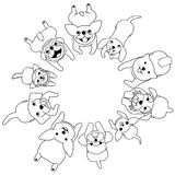 Lying small dogs looking up in circle. With colors royalty free illustration