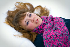 Lying on a Snow Royalty Free Stock Image