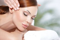 Lying on spa bed Royalty Free Stock Image