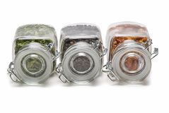 Lying spices jars. Royalty Free Stock Photos