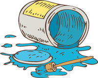 Lying Tin Can of Blue Paint and Paintbrush. Isolated on a White Stock Photos