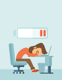 Lying tired employee. Young tired employee sitting, lying on his table with low power sign on the top of his head need rest, vacation, holiday. A contemporary royalty free illustration