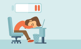 Lying tired employee. Royalty Free Stock Images