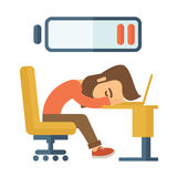 Lying tired employee. Young tired employee sitting, lying on his table with low power sign on the top of his head need rest, vacation, holiday. flat design vector illustration