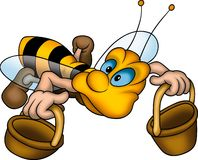 Lying wasp with baskets stock illustration
