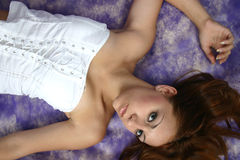 Lying in white Royalty Free Stock Photo