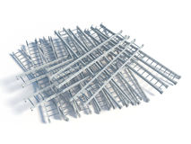 Lying white metal ladder heap Stock Photos