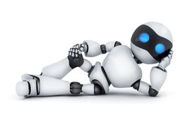 Lying white robot only. Modern white robot lying only. 3d illustration Stock Images