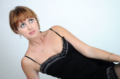 Lying woman Royalty Free Stock Photography