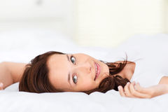 Lying woman Stock Photography
