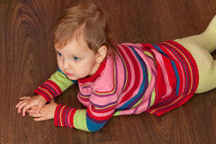 Lying on the wooden floor Royalty Free Stock Images