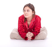 Lying young woman Stock Photography