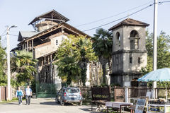 Lykhny 阿布哈兹 保佑的Virgi的做法的教会 免版税库存图片