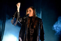 Lykke Li (singer and songwriter from Sweden) performs at Sonar Festival Stock Photography