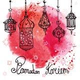 Lykta av Ramadan Kareem klotter Röd vattenfärg royaltyfri illustrationer
