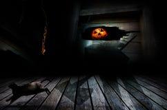 Lykta för Halloween stålar o Arkivbild