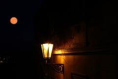 Lykta i den Prague myran månen Arkivfoto
