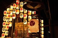 Lyktor av den Gion festivalen ståtar i sommar, Kyoto Japan arkivbild