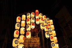 Lyktor av den Gion festivalen ståtar i sommar, Kyoto Japan royaltyfri foto