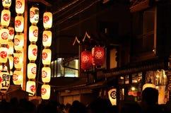 Lyktor av den Gion matsurien i sommar, Kyoto Japan royaltyfria foton