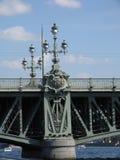 Lyktor på bron över Neva River i St Petersburg royaltyfri foto