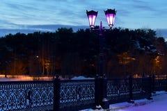 Lyktor på bron i staden parkerar royaltyfri bild