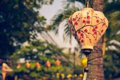 Lyktor som hänger från träd för att dekorera arkivfoto