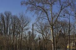 Lyktstolpar i parkerar i tidig vår i paris nära Eiffeltorn arkivfoton