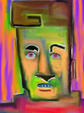 Lyle - Digital Painting. Digital expressionist painting of an intense face painted with abstract shapes and colors Royalty Free Stock Photography