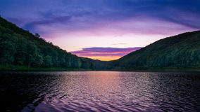 Lyman Run reservoir at sunset. A colorful sunset at Lyman Run in Pennsylvania Royalty Free Stock Photography
