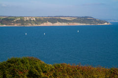 Lyme Bay near Beer and Seaton Devon. This is the Jurassic Coast, England's first natural World Heritage Site, Viewed from the South West Coast Path Royalty Free Stock Photos