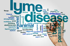 Lyme disease word cloud concept. Lyme disease word cloud on grey background royalty free stock photo