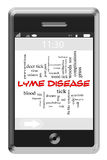 Lyme Disease Word Cloud Concept on Touchscreen Phone Stock Image