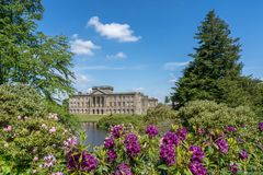 Lyme House at Lyme Park Cheshire. In spring sunshine royalty free stock photography