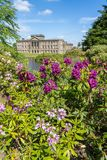 Lyme House at Lyme Park Cheshire. In spring sunshine stock photos