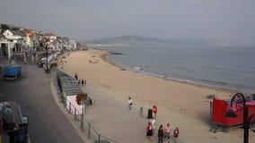 Lyme Regis beach Dorset England UK in Lyme Bay stock video
