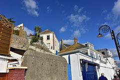 Lyme Regis coastal town sky line. Beautiful coastal town on Dorset jurassic coast royalty free stock photos