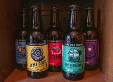 Lyme Regis, Dorset, England, February, 24, 2019: Bottles of craft beer lined up on a shelf at the Lyme Regis gBrewery stock photography