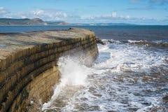 LYME REGIS, DORSET/UK - 22-ОЕ МАРТА: Стена гавани Cobb в Lyme Стоковые Фото
