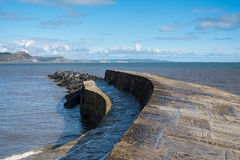 LYME REGIS, DORSET/UK - 22 MAART: De Cobb-Havenmuur in Lyme stock foto