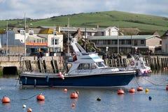 LYME REGIS, DORSET/UK - MARS 22: Fartyg i hamnen på Lyme Arkivfoton