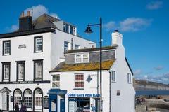 LYME REGIS, DORSET/UK - MARZEC 22: Pub i sklep wewnątrz ryba i układu scalonego Zdjęcie Stock