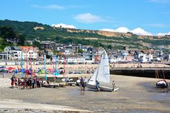 Lyme Regis harbour and beach. Royalty Free Stock Images