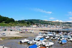 Lyme Regis harbour and town. Stock Photos