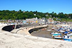 Lyme Regis harbour and town. Stock Photo