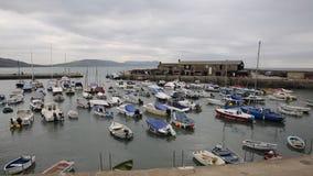 Lyme Regis schronienie Dorset Anglia UK z łodziami cumować zbiory wideo